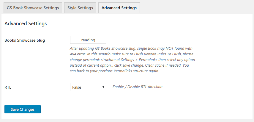 GS Bookshowcase Advanced Settings