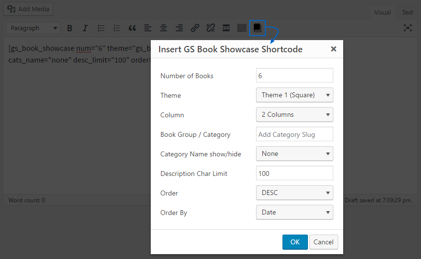 Shortcode Generator GS Book Showcase